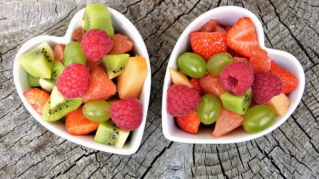 What can you put in smoothies? cut up fruit in heart shaped bowls