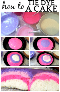 How To Tie Dye Cake different steps of tie dying a cake layering batter over each other