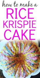How To Make a Rice Krispie Cake text over a round rice krispies cake drizzled with blue, yellow and pink chocolate decorations