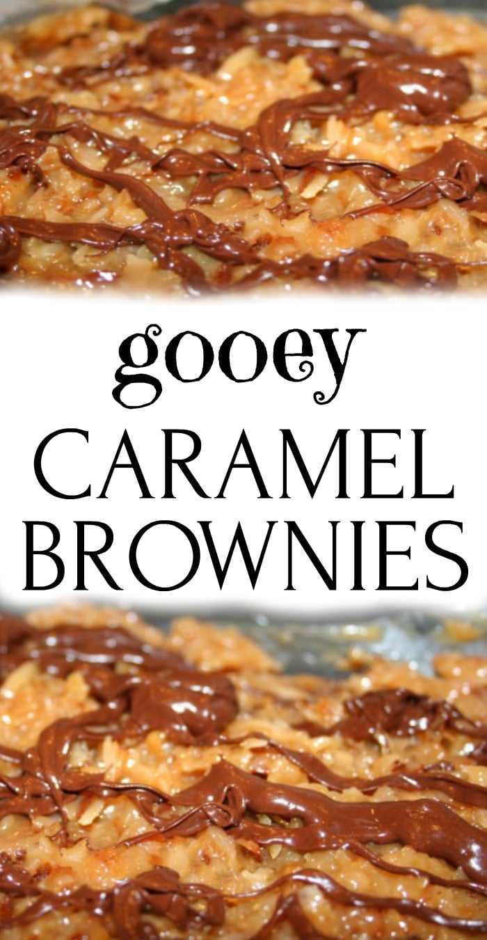 Easy Homemade Caramel Brownies Recipe with Chocolate text in the middle of a picture of coconut caramel topping on brownies drizzled with chocolate