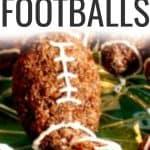 Easy Chocolate Rice Krispie Treats Footballs text over chocolate rice krispy footballs on a plate