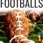 close up of easy chocolate rice krispie treats shaped liked footballs