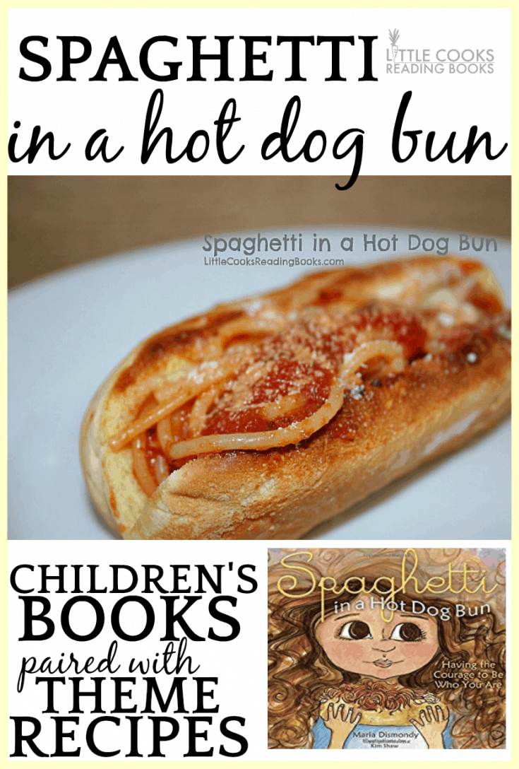 Spaghetti In a Hot Dog Bun activities (craftivity) and recipe for kids #pasta #spaghetti #childrensbooks #lunch