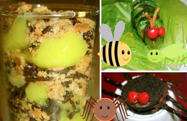 4 Crawly Cute Bug Theme Snacks different foods made to look like bug snacks for kids