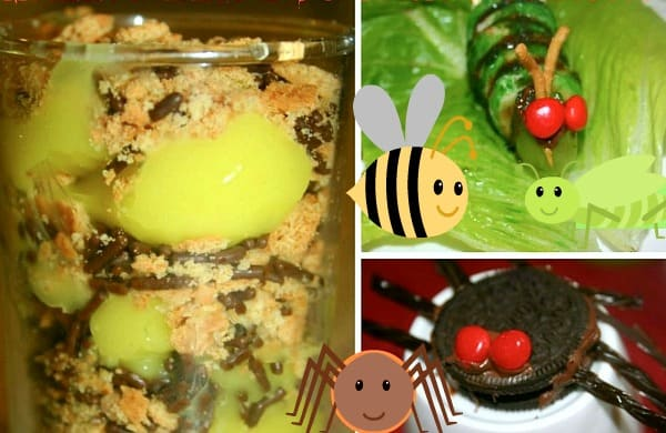 Bug Party Theme Snacks different foods made to look like bug snacks for kids