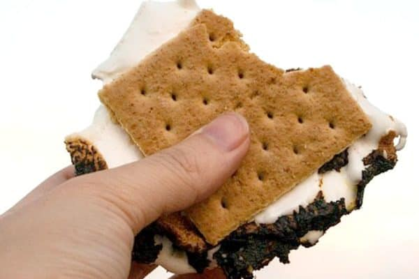 How To Make Smores hand holding a smore in the air