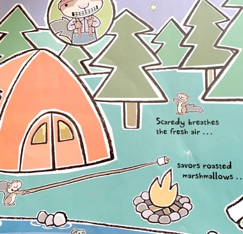 How To Make Smores With Scaredy Squirrel page from the book with cartoon squirrel roasting marshmallows