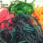 Noahs Ark Rainbow Pasta pasta colored like a rainbow on a plate