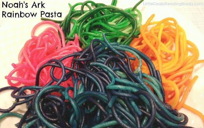 Noahs Ark Rainbow Pasta pasta colored like a rainbow on a plate