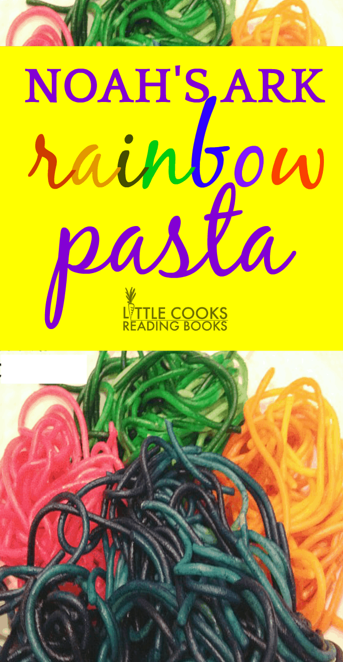 pink blue orange and green Rainbow Pasta on a white background with the words Noah's Ark Rainbow Pasta above it