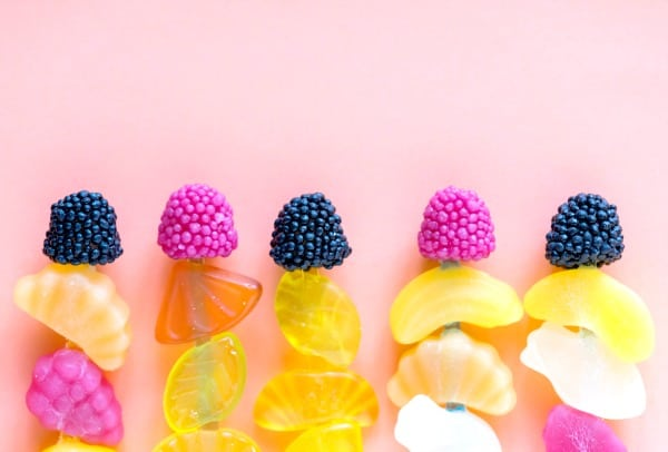Why Cook With Kids? skewers of fruit gummy candy