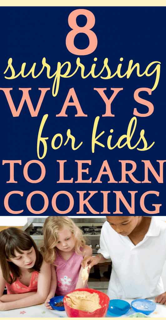 8 Amazing Cooking Classes for Kids That You Don't Know About text over 3 kids stirring cookie dough