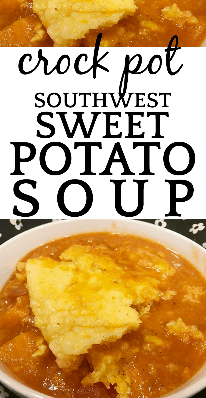Southwest Crock Pot Sweet Potato Soup with Chicken and Cornbread Topping