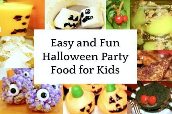 easy Halloween food ideas for party collage of different Halloween finger food snacks for kids