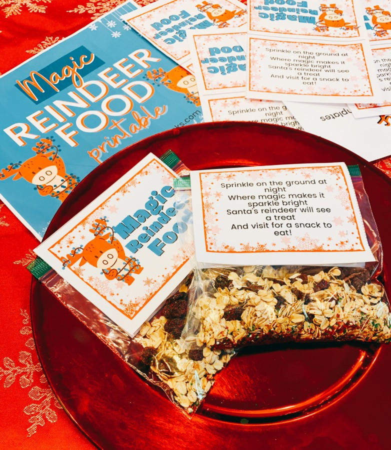 DIY Reindeer food on a red plate with Christmas printable labels around it