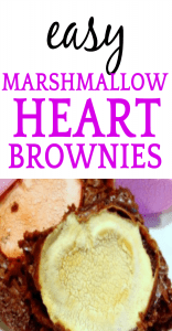 brownies with heart marshmallows with text overlay of Easy Heart Brownies with Marshmallows