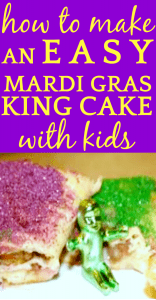 pieces of king cake with purple sugar icing and green sugar icing with a King Cake baby on the plate