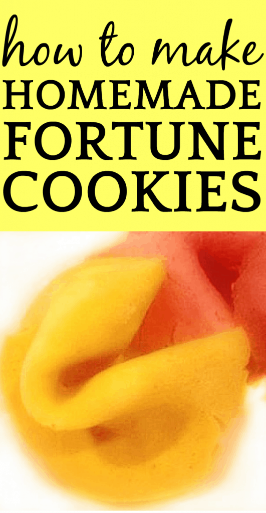 homemade yellow fortune cookie with a pink fortune cookie behind it