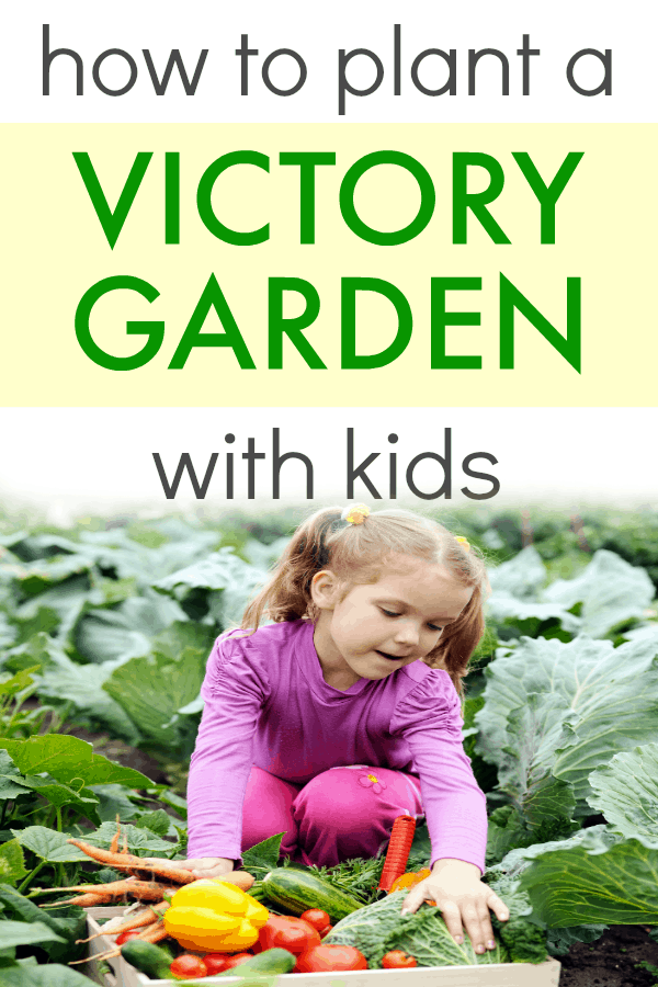 Victory Garden for Kids young girl in garden with basket of vegetables