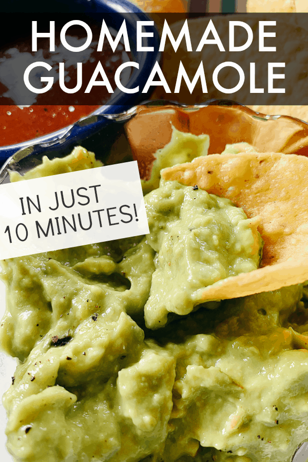 HOW TO MAKE HOMEMADE GUACAMOLE text over a tortilla chip being dipped into guacamole