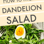 Dandelions salad on a table