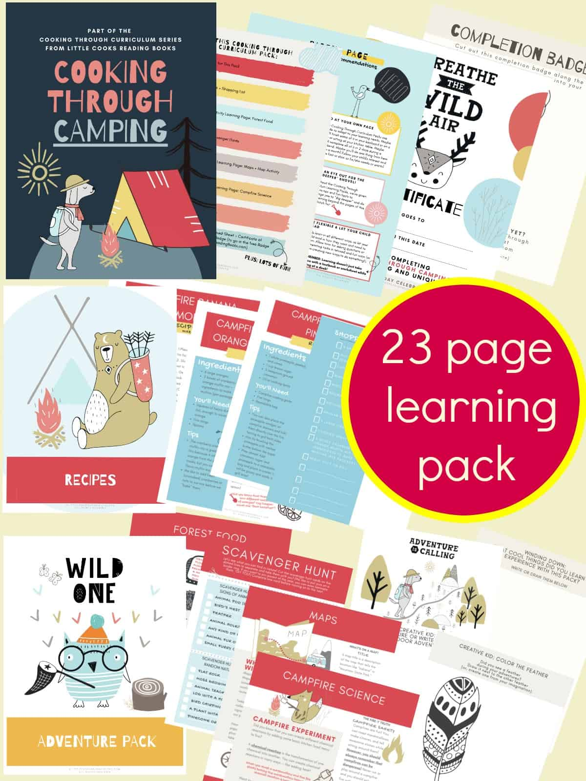 Cooking Through Camping Learning Pack Pages spread out