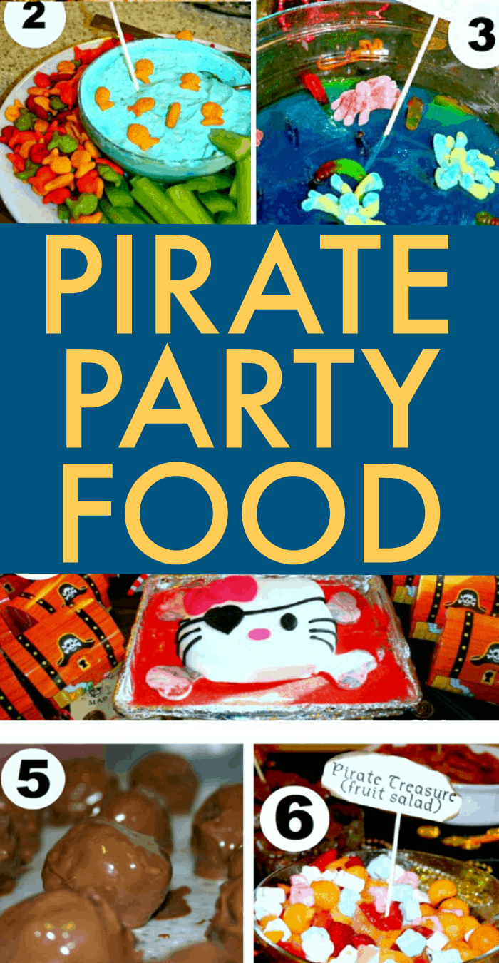 PIRATE PARTY FOOD collage with different pirate snacks