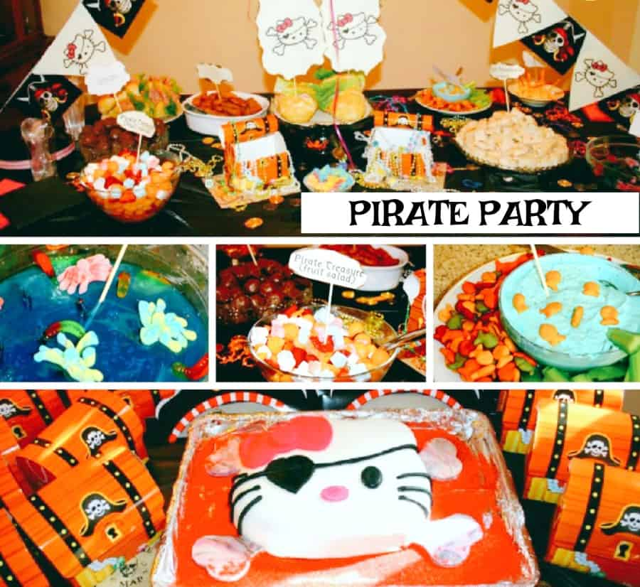 table of different pirate party theme food