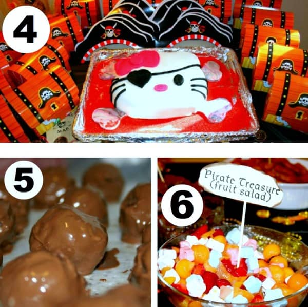 Hello Kitty pirate cake, brownie bites, and fruit salad