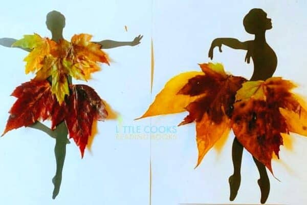 Fall Leaf Craft Ideas two dancer silhouettes with costumes made out of vibrant fall leaves
