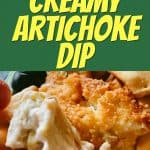 EASY ARTICHOKE DIP RECIPE text over image of artichoke dip with crackers on a plate