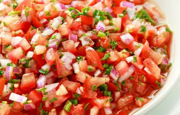 Homemade Pico de Gallo in a dish close up