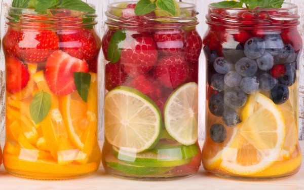 Fruit in water recipes 3 different mason jars with fruit water infusions