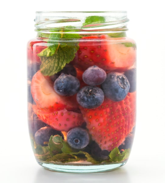 Strawberry Infused Water drink in a mason jar