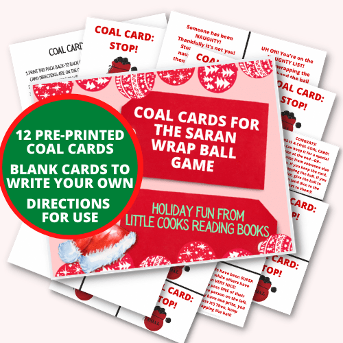 COAL CARDS GAME spread out for Saran Wrap Ball Game for Christmas