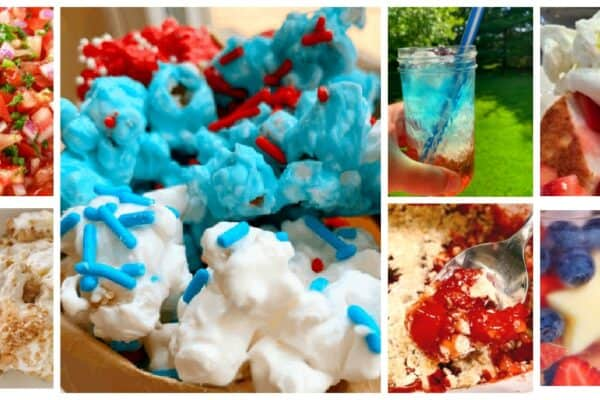 July 4th Food Ideas different red white blue foods in a collage