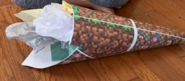 Minecraft Theme First Day of School Cone