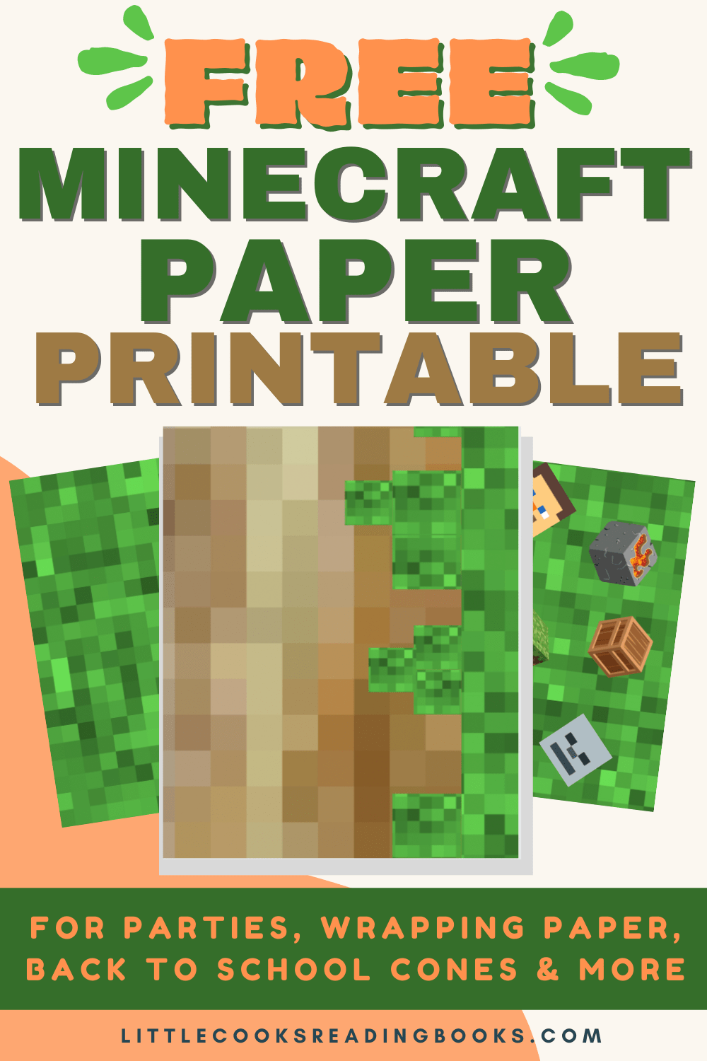 Minecraft Paper Printables pages spread out