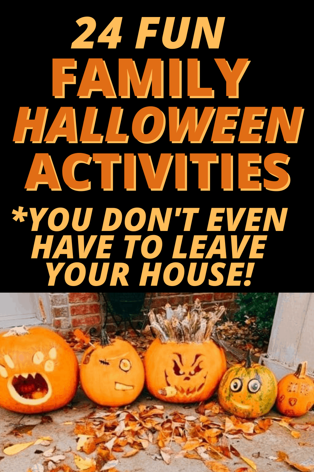 Fun Family Halloween Activities with no carve pumpkin and fall leaves