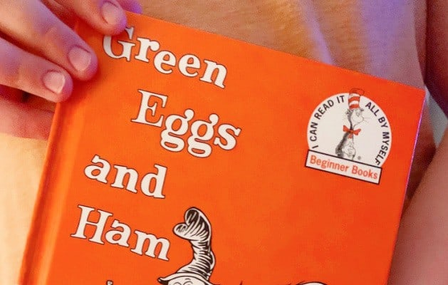Green Eggs and Ham activities for preschool and kindergarten with orange cover of green eggs and ham Dr Seuss book