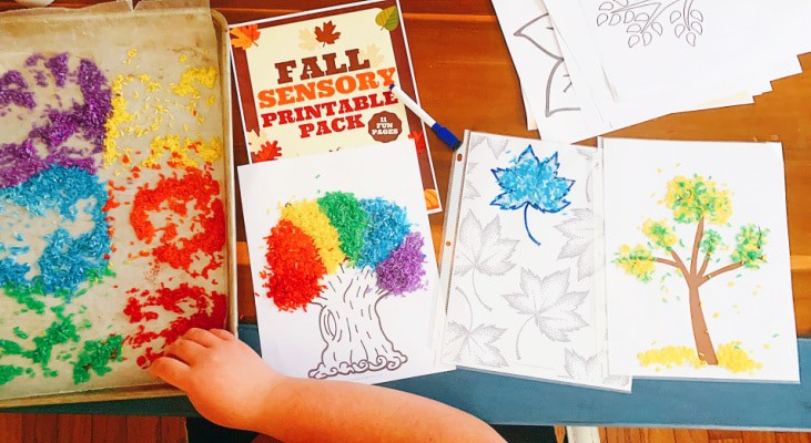 Autumn Sensory Activity with child's hand on a sensory table with dyed rice and fall tree printables