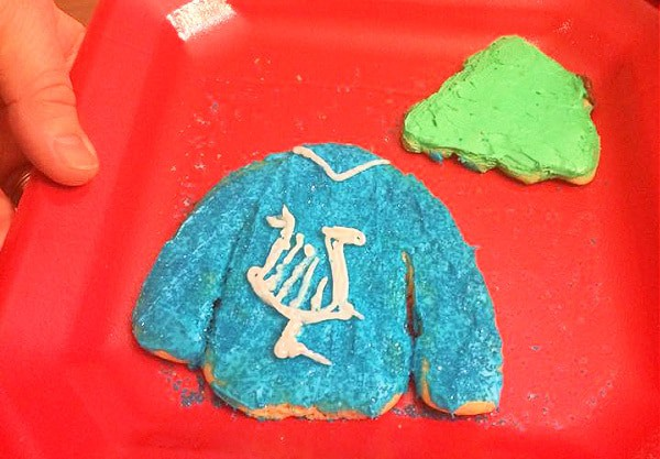 Cookie Swap Party Ideas Ugly Sweater Cookies blue Hanukkah ugly sweater cookie decorated